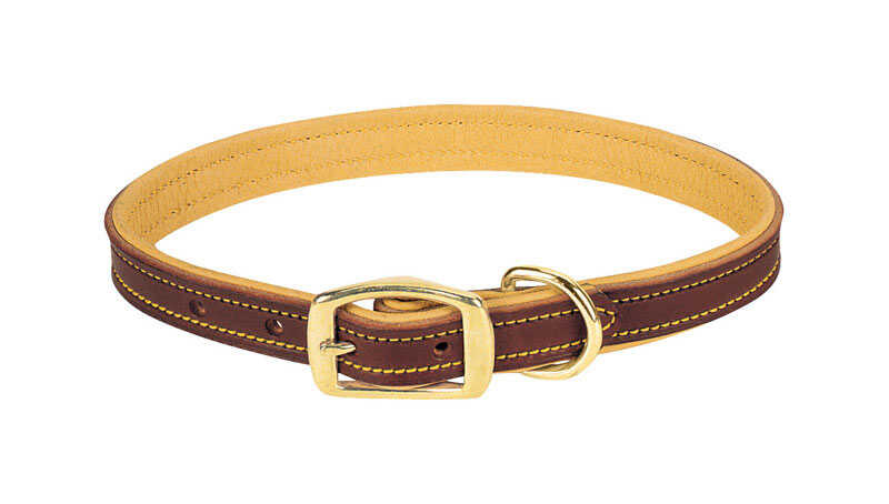 Weaver Leather  Deer Ridge  Brown  Leather  Dog  Collar