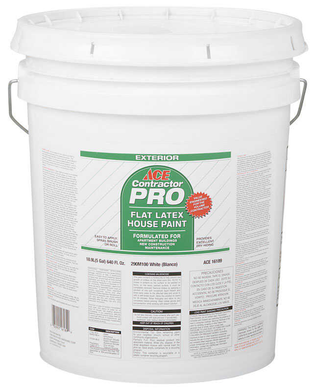 Ace  Contractor Pro  Flat  White  Latex  House Paint  5 gal.