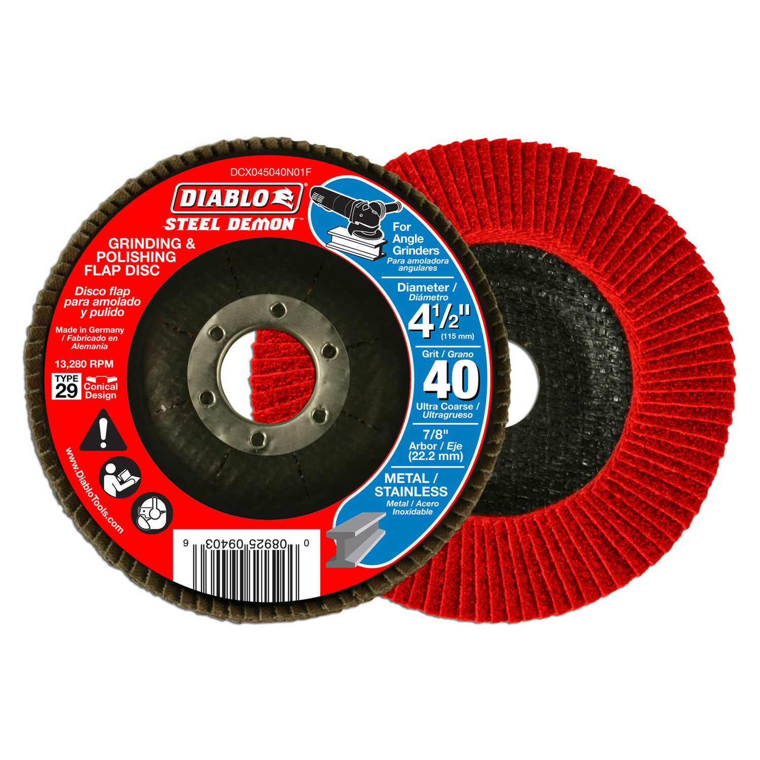 Diablo  Steel Demon  4-1/2 in. Dia. x 7/8 in.   Ceramic  Flap Disc  40 Grit 13280 rpm 1 pc.
