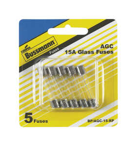 Bussmann  15 amps AGC  Glass Tube Fuse  5 pk
