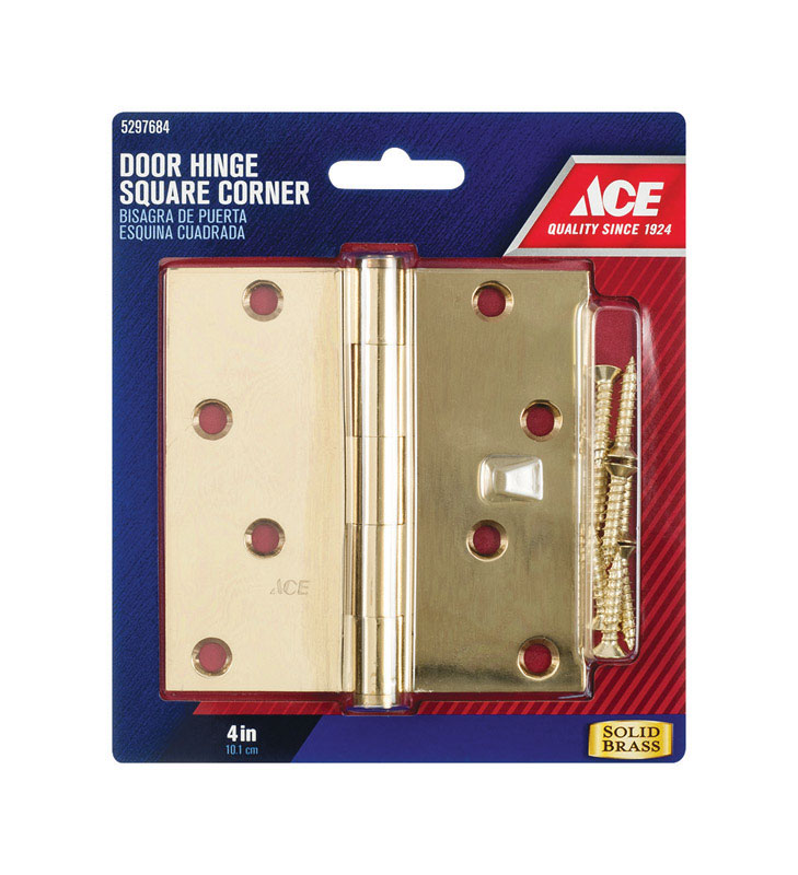 Ace  4 in. L Bright Brass  Brass  Residential Door Hinge  1 pk