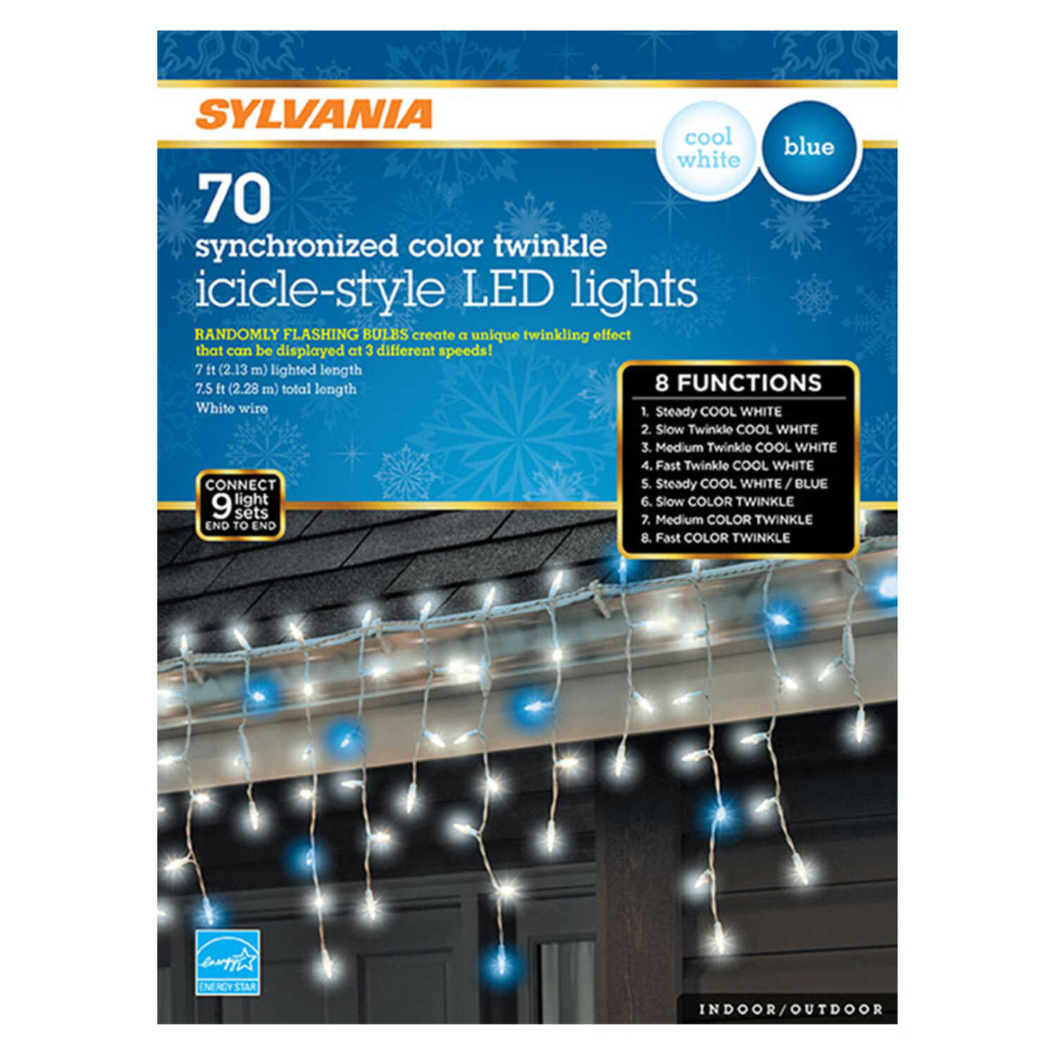 Sylvania  LED  Synchronized color twinkle  Light Set  Blue/White  6.33 ft. 70 lights