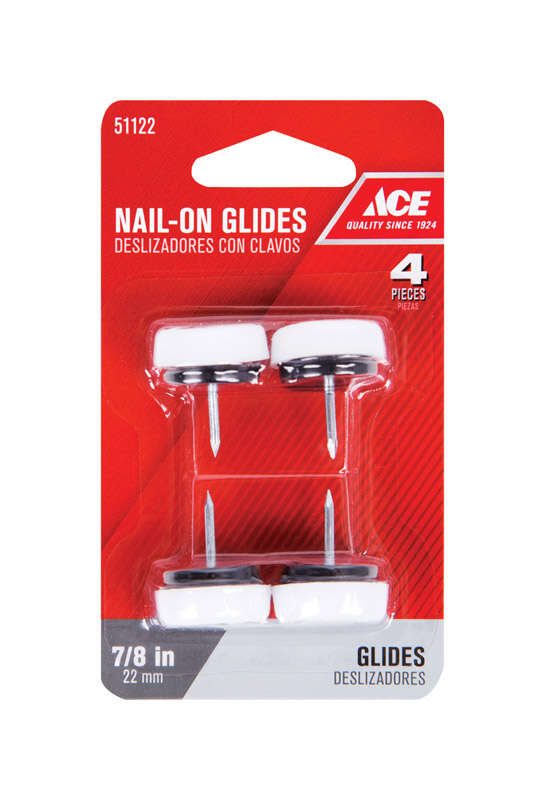 Ace  Nylon/Plastic  0.88 in. Nail On  Cushioned Glide  4 pk