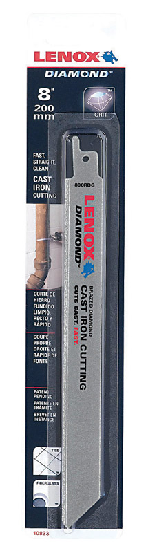 Lenox  8 in. L Reciprocating Saw Blade  24 TPI Diamond Grit  1 pk