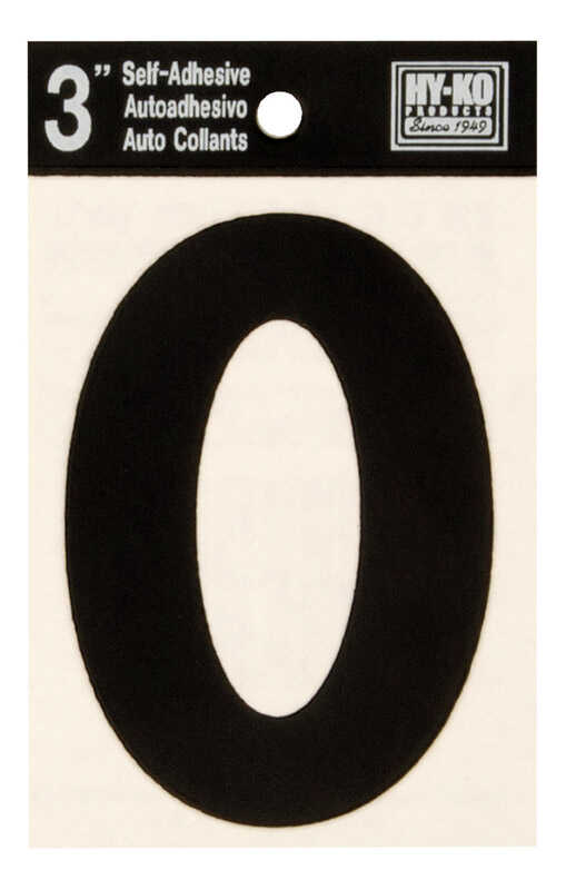 Hy-Ko  Black  Vinyl  Number  Self-Adhesive  0  3 in.