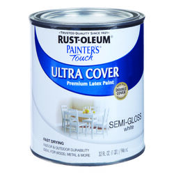 Rust-Oleum  Painters Touch Ultra Cover  Semi-Gloss  White  Water-Based  Acrylic  Paint  Indoor and O