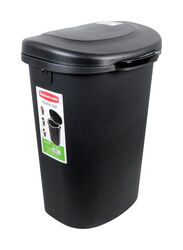 Rubbermaid 13 gal. Black Plastic Touch Top Trash Can