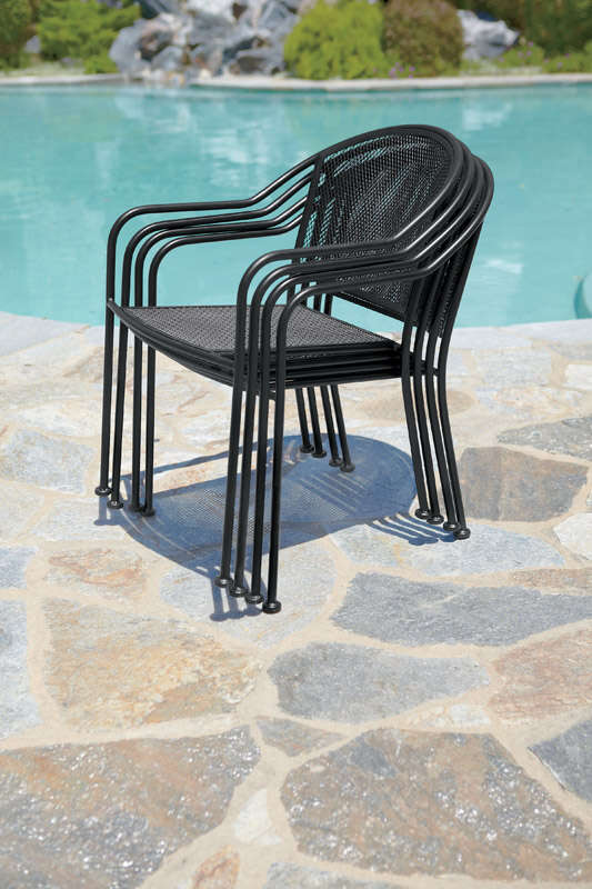 Living Accents  Seville  Black  Wrought Iron with Mesh  Stackable  Chair