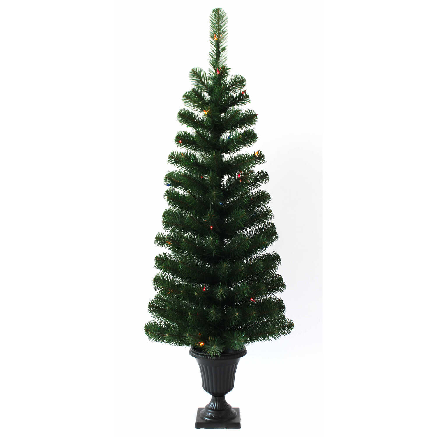 J & J Seasonal  Multicolored  Prelit 4 ft. Artificial Entrance Tree  50 lights 140 tips Douglas Fir