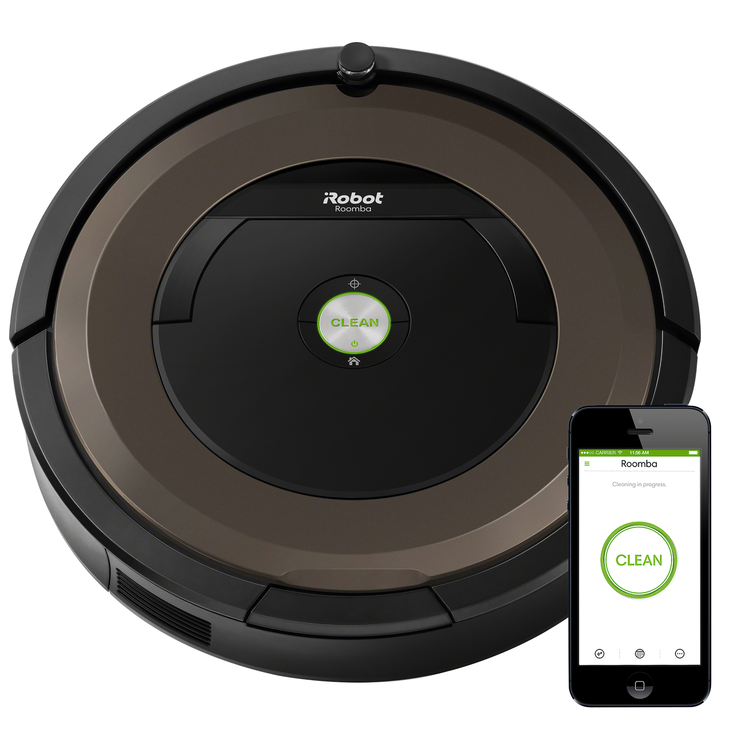 The Roomba 890 Vacuuming Robot loosens, lifts, and suctions dirt with up to 5x more air power. Dirt Detect sensors alert the Roomba robot vacuum to clean more thoroughly on concentrated areas of dirt. Ideal for homes with pets, the Roomba 890 features tangle-free brushes and a high-efficiency filter. Just press CLEAN or schedule Roomba on the go with the iRobot HOME App.