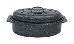 Columbian Home Granite Ware Porcelain Enamel Covered Roaster 7 lb. Black
