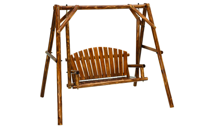 Jack Post  Northwood  Northwoods Log  Wood  Porch Swing  2 person