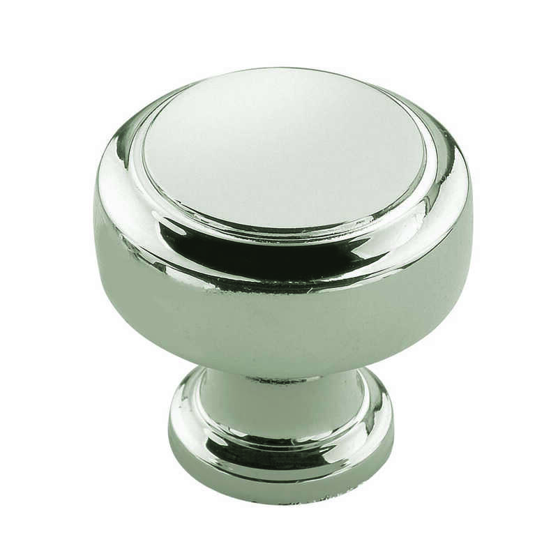 Amerock  1-3/16 in. Dia. Highland Ridge Collection  Knob  1-1/4 in. Polished Nickel  1 pk