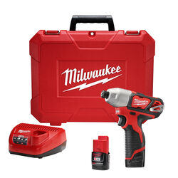 Milwaukee M12 12 volt 1/4 in. Cordless Brushed Impact Driver Kit (Battery & Charger)
