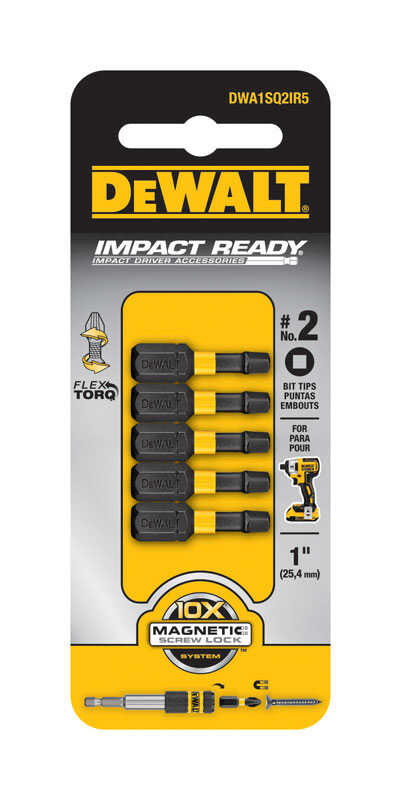 DeWalt  Impact Ready  #2 in.  x 1 in. L Screwdriver Bit  Black Oxide  1/4 in. 5 pc. Square