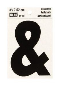 Hy-Ko  3 in. Reflective Black  Vinyl  Special Character  Ampersand  Self-Adhesive  1 pc.