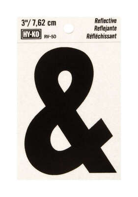 Hy-Ko  3 in. Reflective Black  Vinyl  Self-Adhesive  Special Character  Ampersand  1 pc.