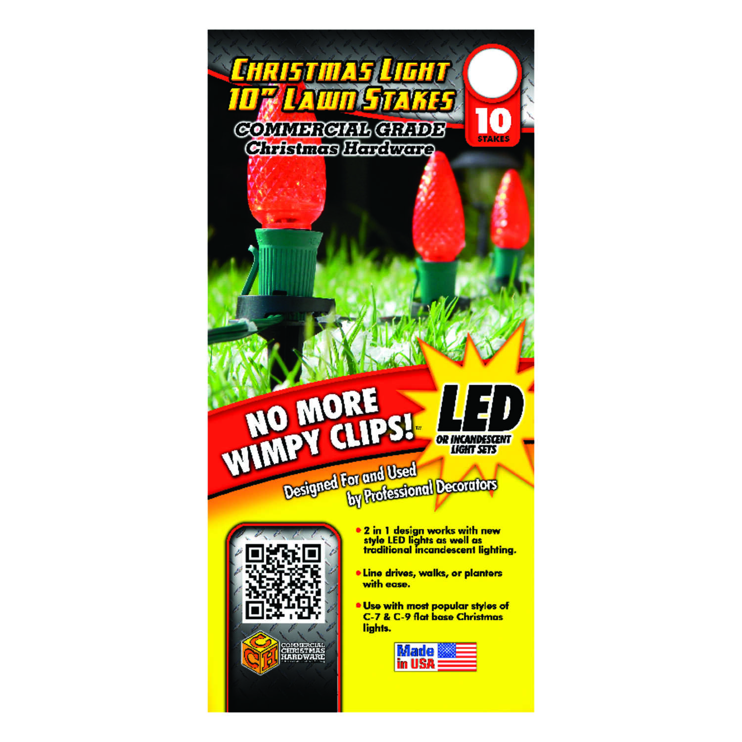 Adams  Christmas Light  Lawn Stakes  Black  Nylon  10 pk