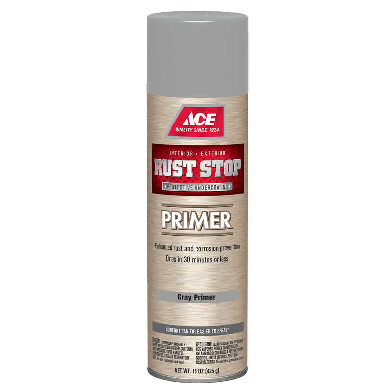 Ace  Rust Stop  For Metals Primer  Grey  15 oz.
