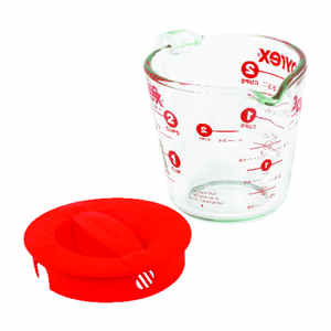 Pyrex  2  Glass/Plastic  Clear/Red  Measuring Cup