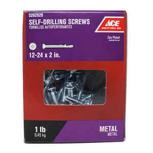 Ace  12-24 Sizes  x 2 in. L Phillips  Flat Head Zinc-Plated  Zinc  Self-Drilling Screws w/Wings  1 l