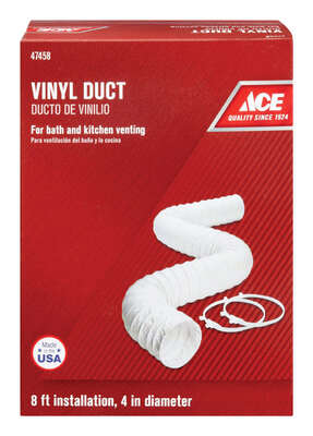 Ace  96 in. L x 4 in. Dia. Silver/White  Vinyl  Vent Duct