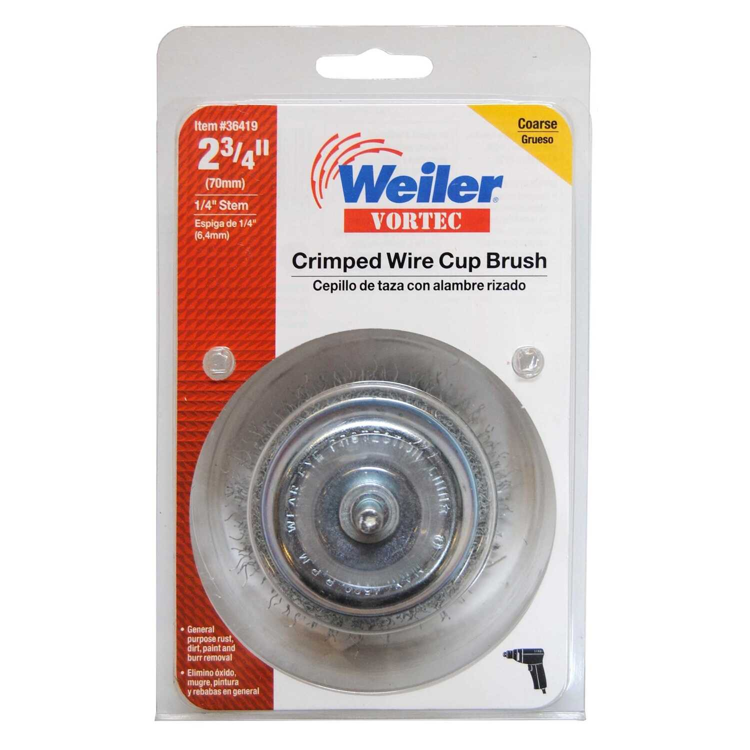 Weiler  2-3/4 in. Dia. x 1/4 in.  Coarse  Steel  Crimped Wire Cup Brush  Vortec  1 pc.