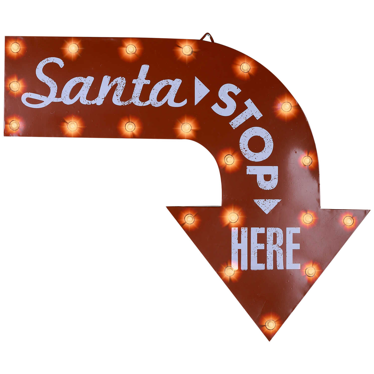 Gemmy  Santa Stop Here  Christmas Sign  Multicolored  1 pk Glass