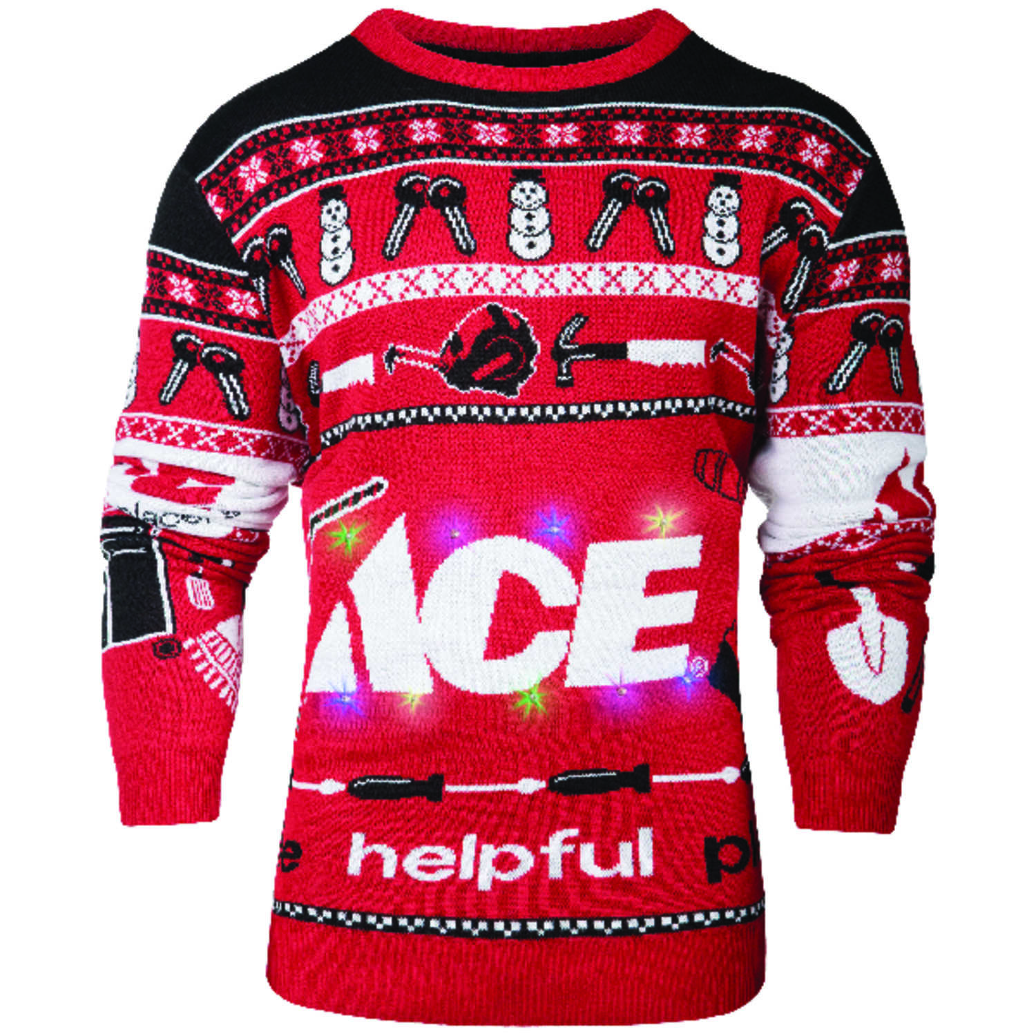 Ace  L  Long Sleeve  Men's  Crew Neck  Red/White/Black  Ace Ugly Sweater