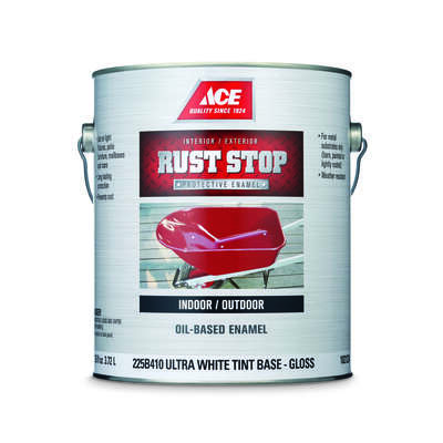 Ace  Rust Stop  Indoor/Outdoor  Gloss  Tint Base  Ultra White Base  Oil-Based Enamel  Rust Preventat