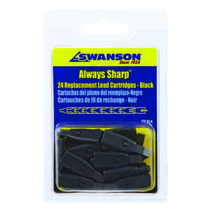 Swanson  Always Sharp  3 in. W x 4.8 in. L Mechanical Carpenter Pencil Replacement Tips  Black  24 p
