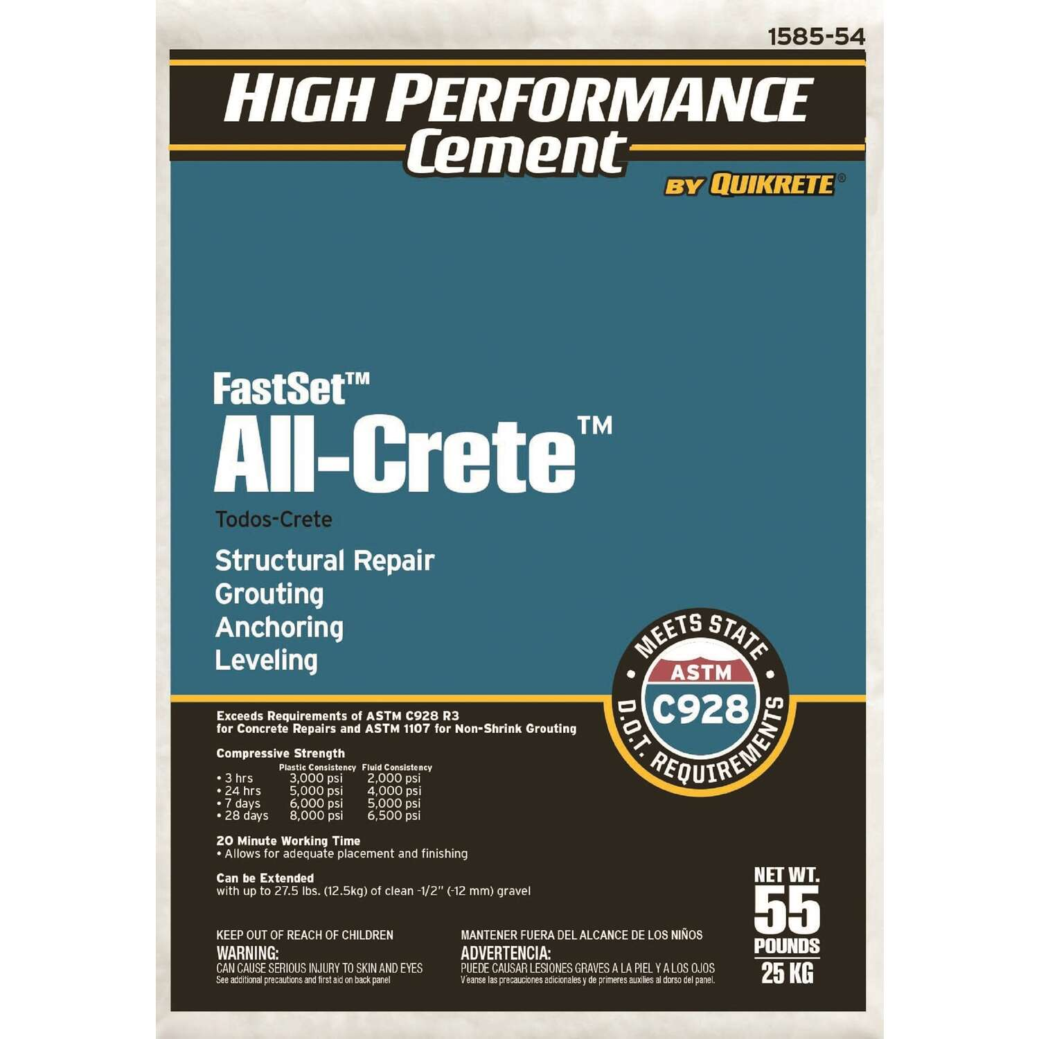Quikrete  FastSet All-Crete  Anchoring Cement  55 lb.