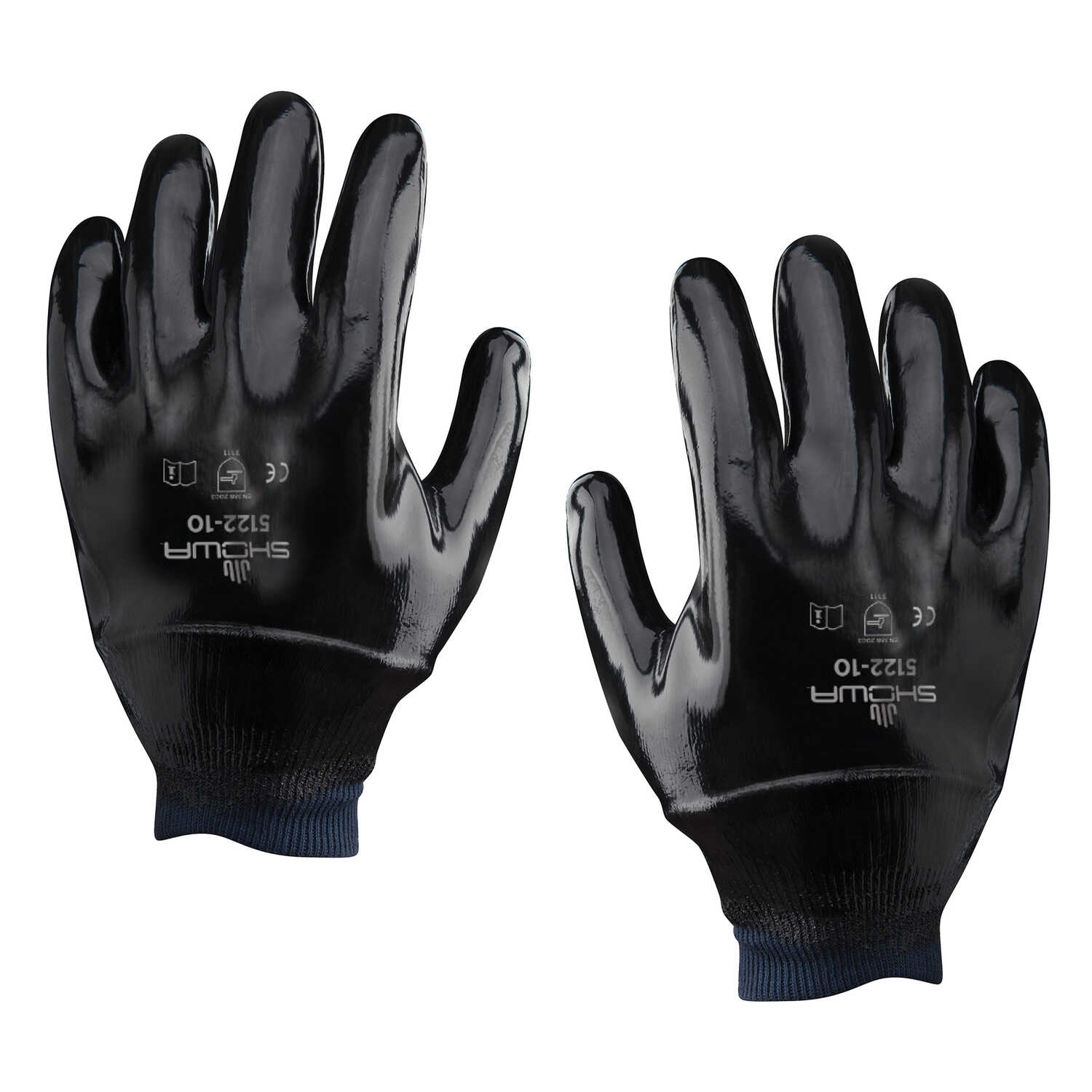 Showa  Unisex  Indoor/Outdoor  Neoprene  Cuffed  Chemical Gloves  Black  L