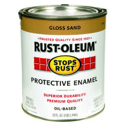 Rust-Oleum  Stops Rust  Gloss  Sand  Oil-Based  Alkyd  Exterior and Interior  1 qt. Protective Ename