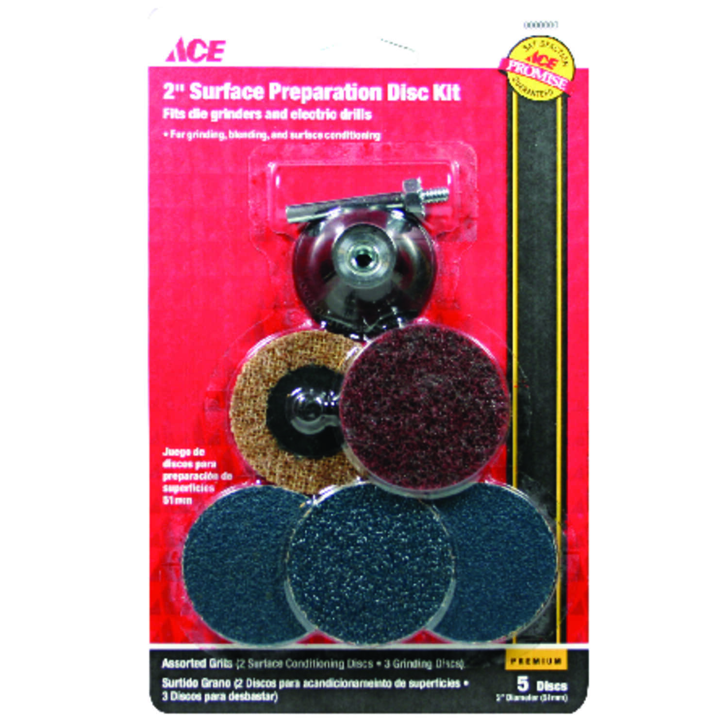 Ace  2 in. Zirconium  Twist and Lock  Surface Preparation Disc Kit  Assorted Grit Assorted  6 pc.