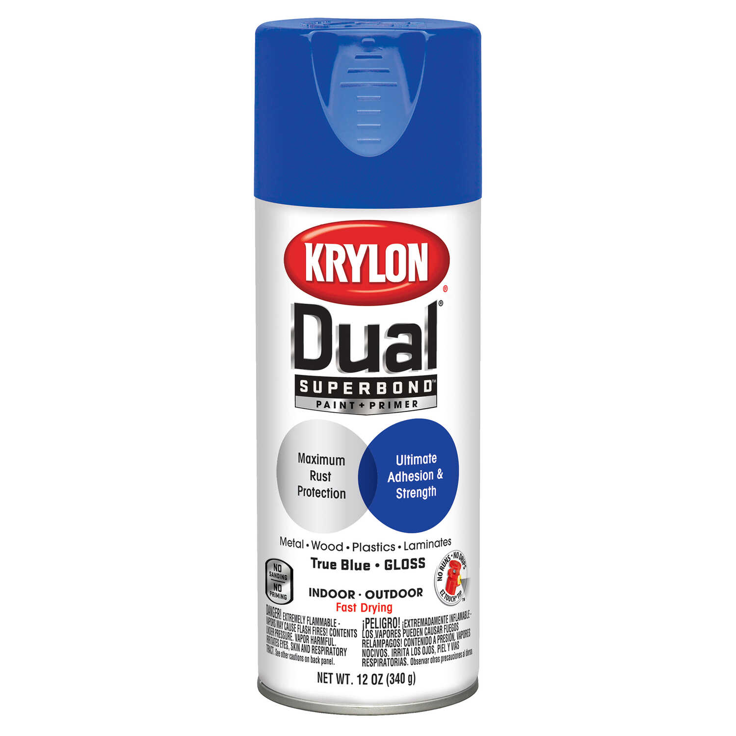 Krylon  Dual  Gloss  True Blue  Paint + Primer Spray Paint  12 oz.