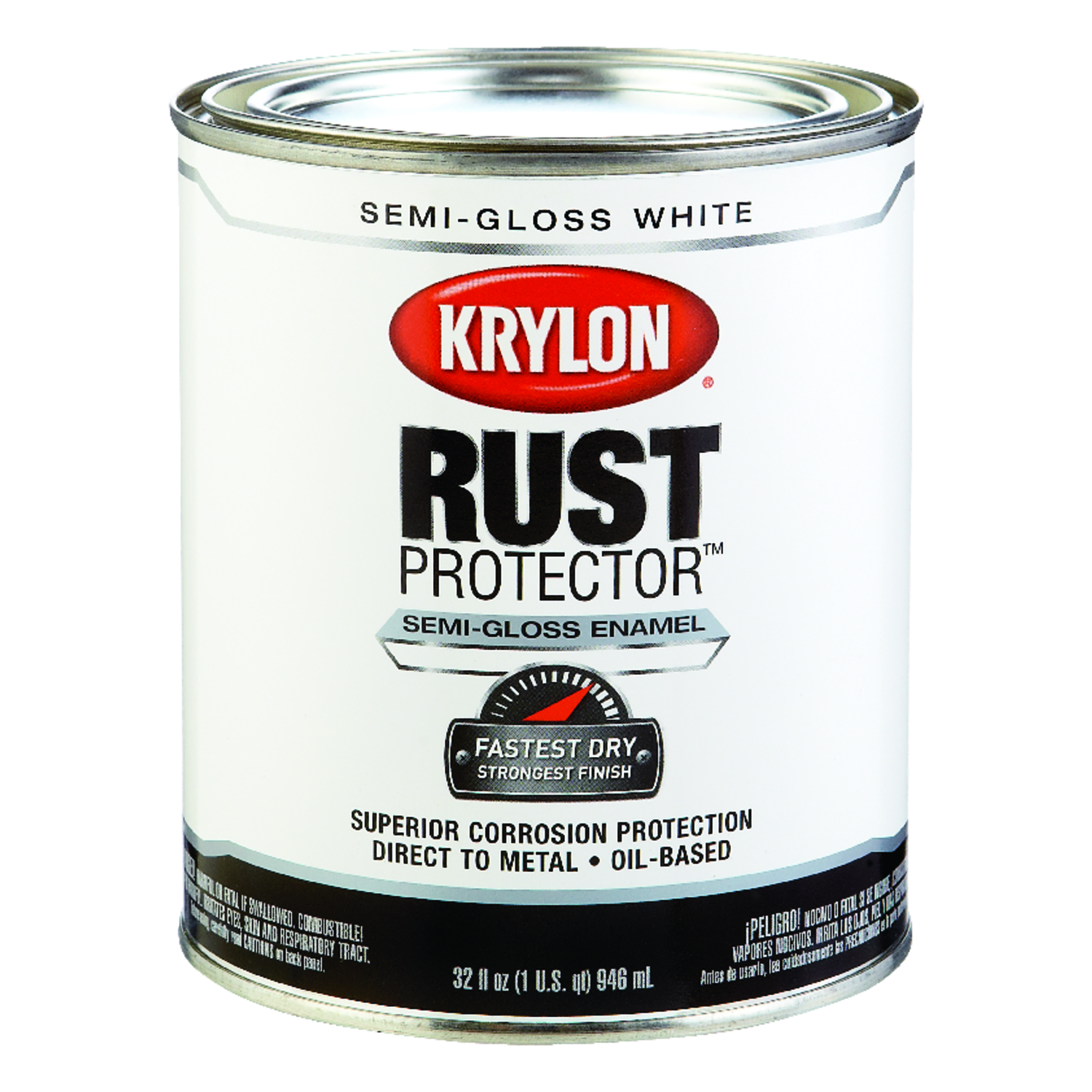 Krylon  Indoor and Outdoor  Semi-Gloss  White  Enamel  Rust Protector Paint  32 qt.