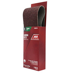 Ace  16 in. L x 2-1/2 in. W Aluminum Oxide  Sanding Belt  50 Grit Coarse  2 pc.