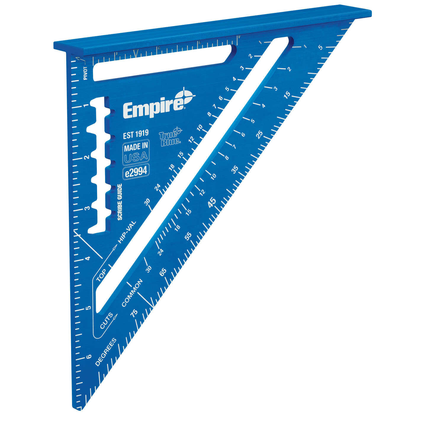 Empire  True Blue  7 in. H x 7 in. L Anodized Aluminum  Blue  Rafter Square  Laser Etched