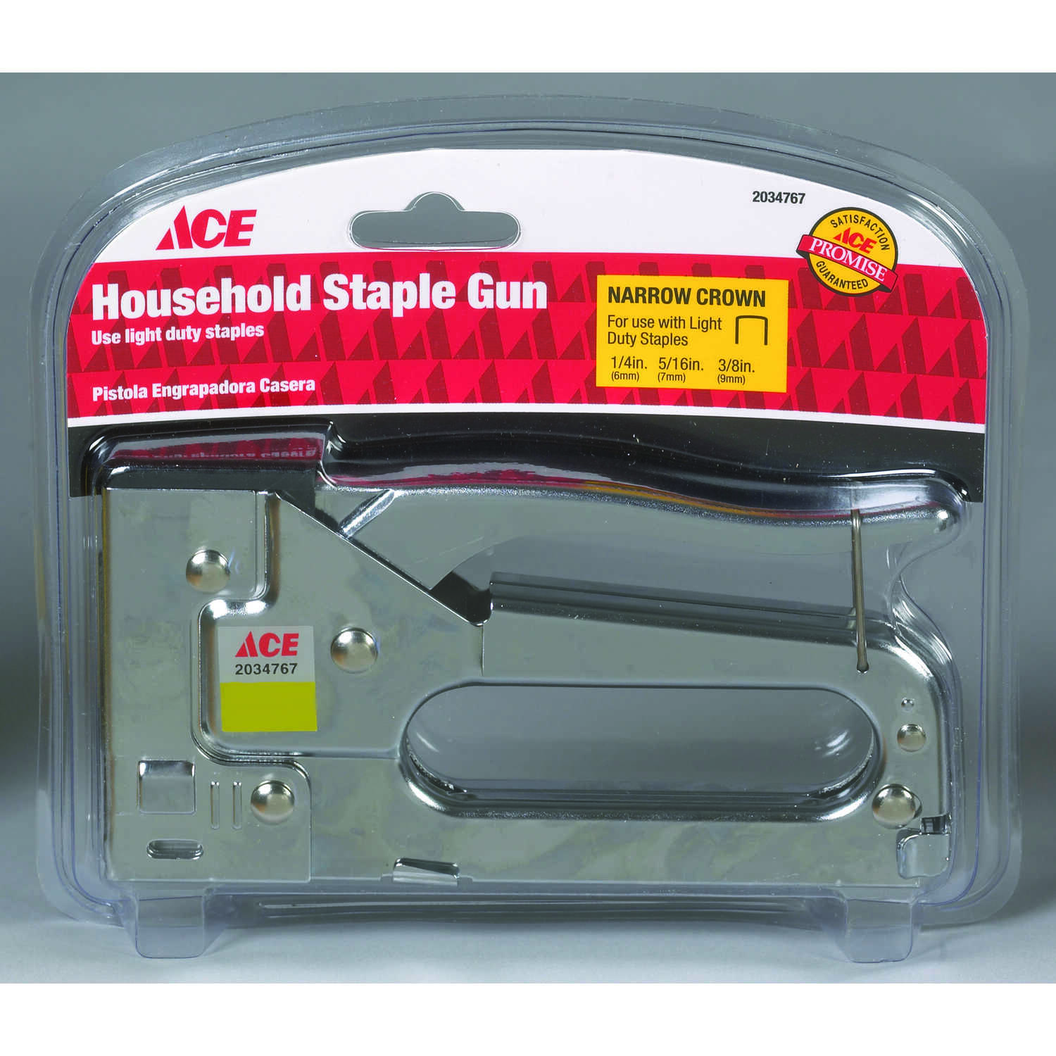 Ace  3/8 in. Flat  Staple Gun  Silver