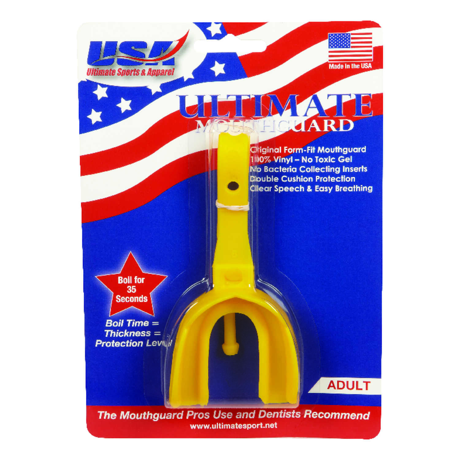 All American Ultimate  Adult  Yellow  Athletic Mouthguard  Strap Included