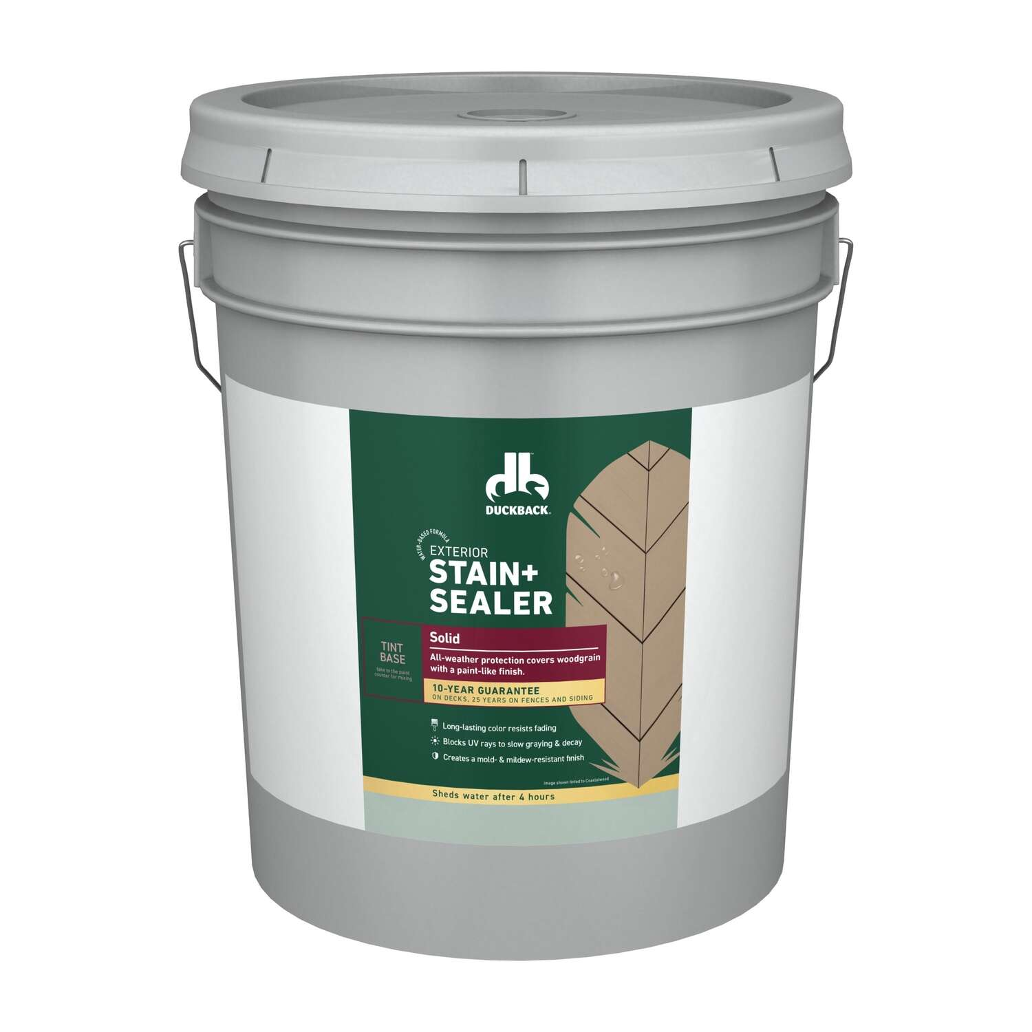 Duckback  Solid  Tintable White  Tint Base  Stain and Sealer  5 gal.