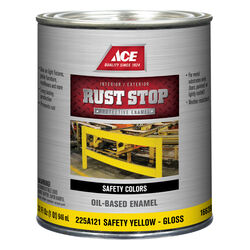 Ace  Rust Stop  Indoor and Outdoor  Gloss  Safety Yellow  Rust Prevention Paint  1 qt.