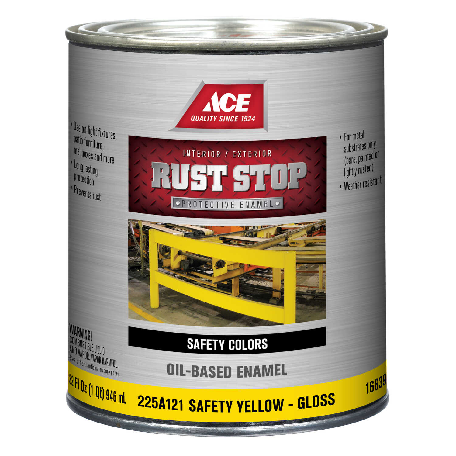 Ace  Rust Stop  Interior/Exterior  Gloss  Safety Yellow  Rust Prevention Paint  1 qt. Indoor and Out