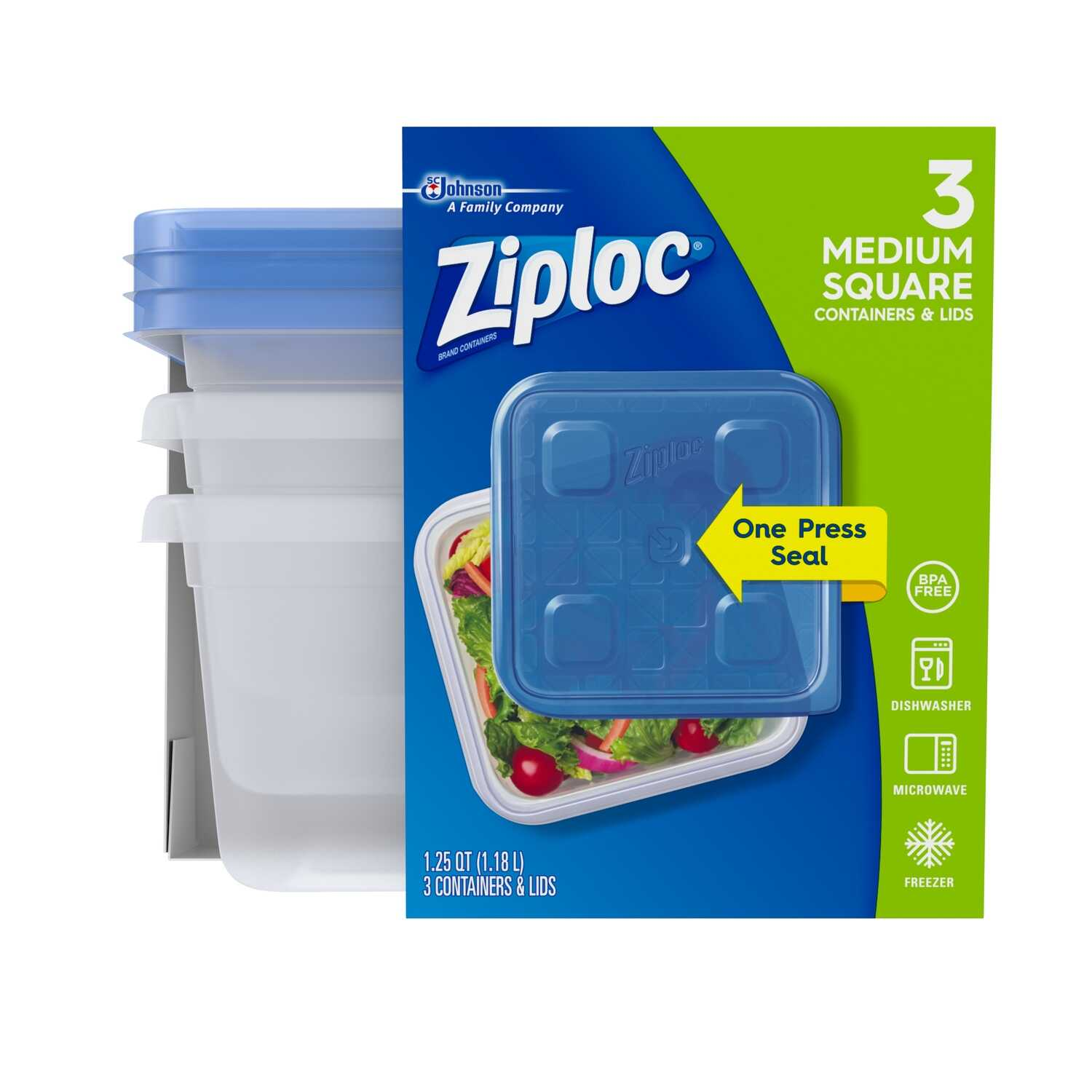 Ziploc  Food Storage Container  3 pk Clear  40 oz.