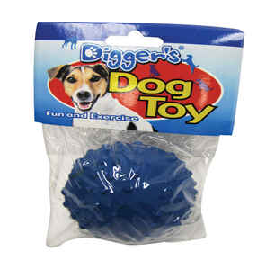 Diggers  Blue  Rubber  Ball Dog Toy  Small  Knobby Texture