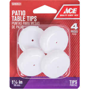 Ace  Plastic  Patio Table Tips  White  Round  1-1/2 in. W 4 pk