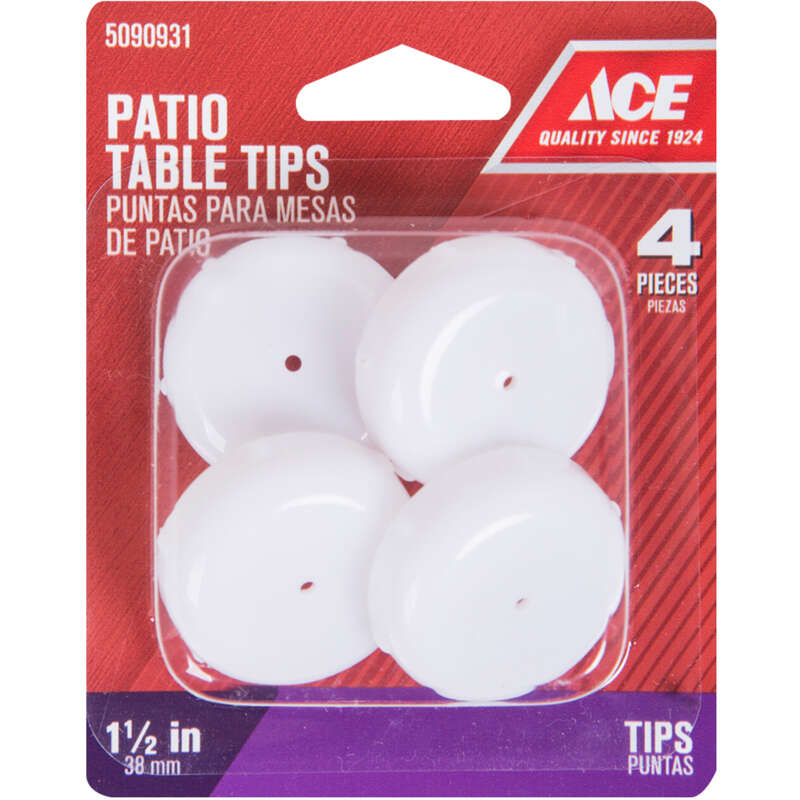 Ace  Plastic  Patio Table Tips  White  Round  4 pk