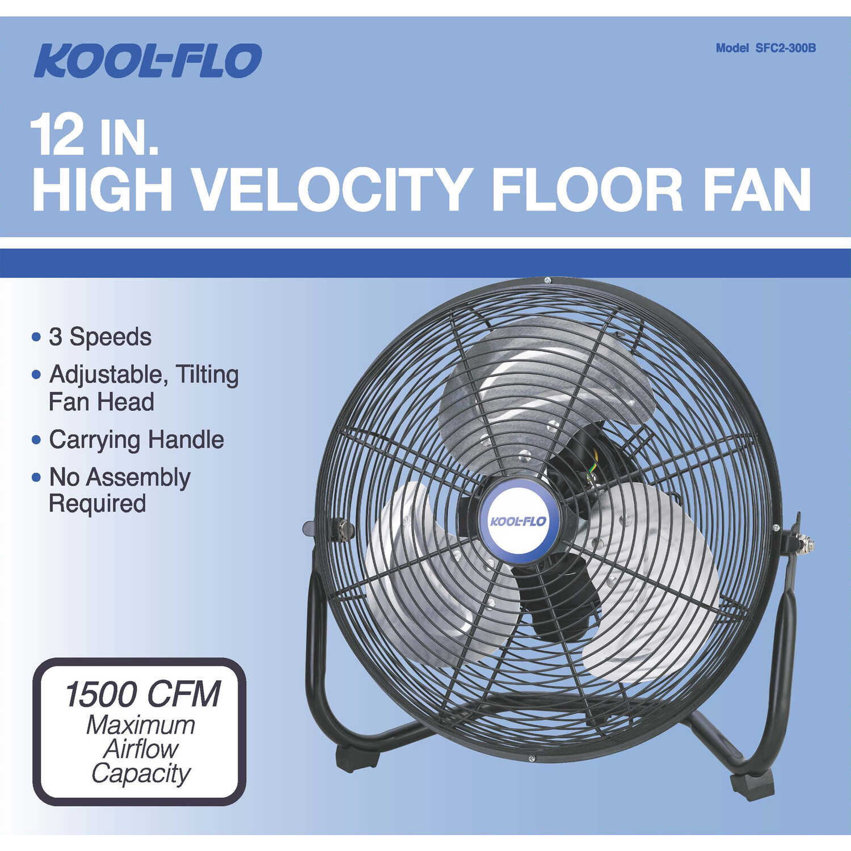 KOOL-FLO 14 37 in  H x 12 in  Dia  3 speed Electric High
