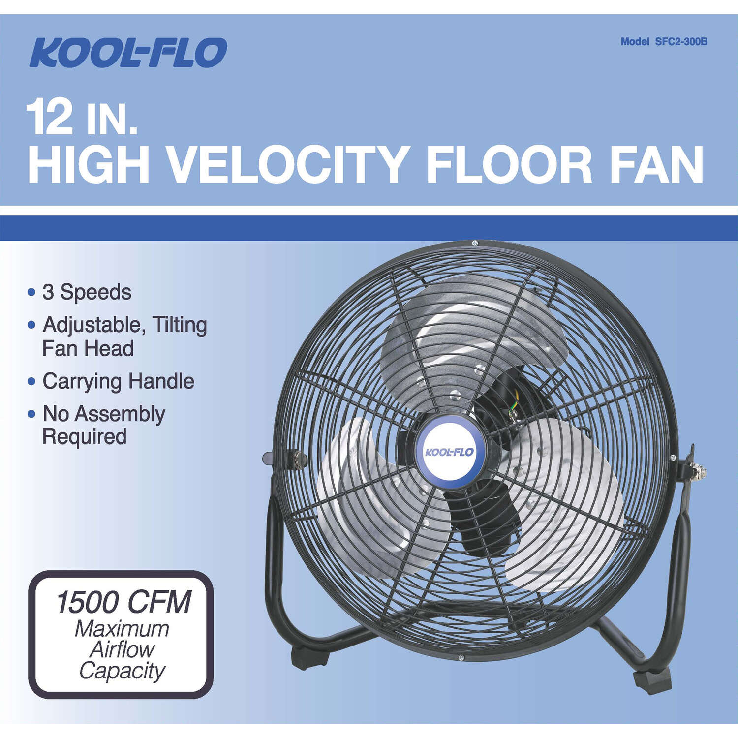 KOOL-FLO  12 in. 3  Electric  High Velocity Fan